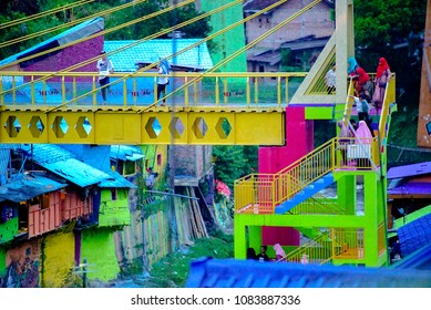 May 5 2018 Malang Indonesia : The Colorful Houses of Kampung Warna Warni in Jodipan Village, Malang