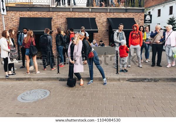 MAY 5 2018 , Minsk,Belarus Street walks A group of people is standing on the street