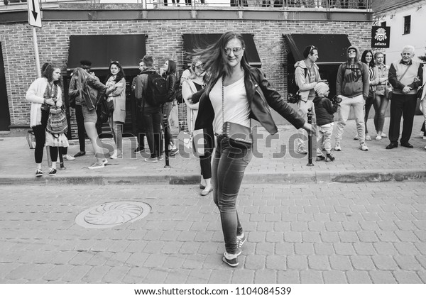 MAY 5 2018 , Minsk,Belarus Street walks Girl dancing on the street