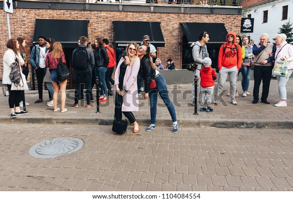 MAY 5 2018 , Minsk,Belarus Street walks A group of people is standing on the street