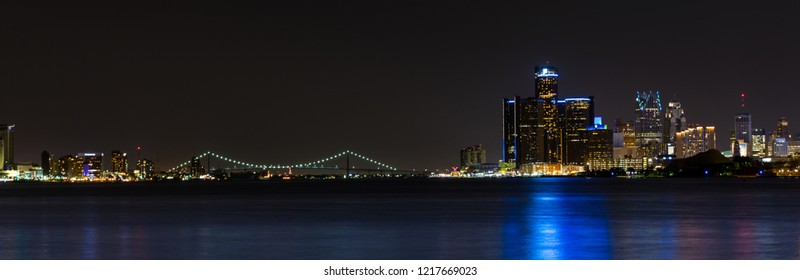 May 5, 2018. Panoramic image of Downtown Detroit in Michigan Night Skyline. Detroit, Michigan. USA.