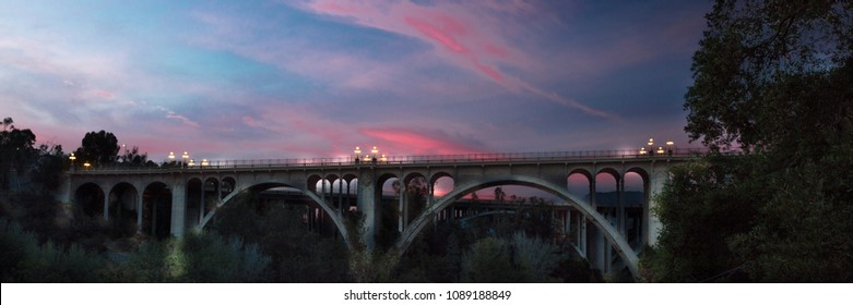 MAY 5, 2018 - PASADENA, CA - Historic Colorado Bridge Arches at dusk, Pasadena, CA