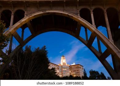 MAY 5, 2018 - PASADENA, CA - Colorado Bridge Arch frames U. S. Ninth Circuit Court of Appeals at dusk, Pasadena, CA