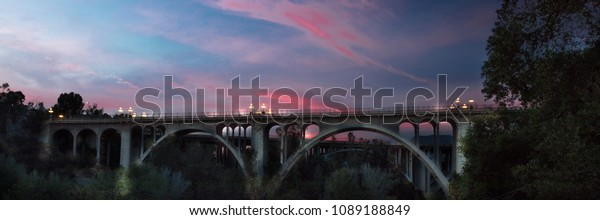 MAY 5, 2018 - PASADENA, CA - Historic Colorado Bridge Arches at dusk, Pasadena, CA