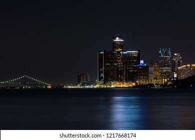 May 5, 2018. View of Downtown Detroit in Michigan Night Skyline. Detroit, Michigan. USA.