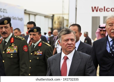 MAY 6, 2014 - AMMAN: King of Jordan, Abdullah II of Jordan (Abdallah II Bin Al-Hussein) at SOFEX conference opening in Amman.