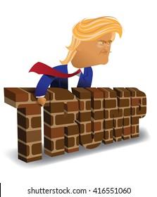 MAY 6, 2016: Illustrative editorial cartoon of Donald Trump behind a brick wall.