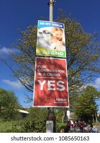 May 6th, 2018, Cork, Ireland - billboards promoting the Yes and No votes for the 25th of May referendum regarding the issue of abortion; Irish citizens be asked whether or not to delete 8th Amendment.