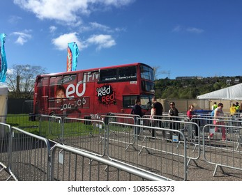 May 6th, 2018, Cork, Ireland - Red FM bus outside of Pairc Ui Chaoimh stadium, the home of Cork GAA, to promote the Ed Sheeran concert.