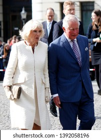 MAY 7, 2019 - BERLIN: Camilla, Duchess of Cornwall  and Prince Charles during a visit in Germany, Pariser Platz, Berlin-Mitte.