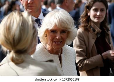 MAY 7, 2019 - BERLIN: Camilla, Duchess of Cornwall  during a visit in Germany, Pariser Platz, Berlin-Mitte.