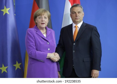 MAY 8, 2014 - BERLIN: Angela Merkel, Viktor Orban at a press conference before a meeting of the German Chancellor with the Prime Minister of Hungary in the Chanclery in Berlin.