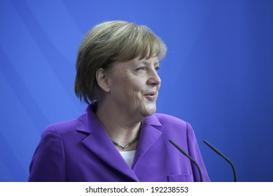MAY 8, 2014 - BERLIN: German Chancellor Angela Merkel at a press conference before a meeting with the Prime Minister of Hungary in the Chanclery in Berlin.