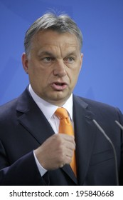 MAY 8, 2014 - BERLIN: Hungarian Prime Minister Viktor Orban at a press conference before a meeting with the German Chancellor in the Chanclery in Berlin.