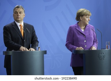 MAY 8, 2014 - BERLIN: Viktor Orban, Angela Merkel at a press conference before a meeting of the German Chancellor with the Prime Minister of Hungary in the Chanclery in Berlin.