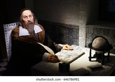 May 8. 2017 Museum of wax statues Grevin in the capital of the Czech Republic in Prague: Jan Amos Comenius - Teacher