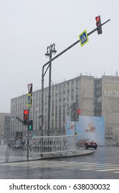 May 8, 2017, snowfall in the streets of Moscow