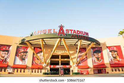 May 8 2018 :  View of Angel Stadium of Anaheim entrance. Angel Stadium is the home ballpark to Major League Baseball's Los Angeles Angels.