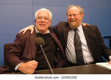 MAY 9, 2005 - BERLIN: Peter Eisenman, Wolfgang Thierse at a press conference before the official opening of the Holocaust Memorial in Berlin.