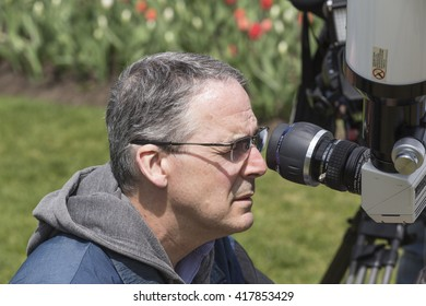 May 9, 2016 - Ottawa, Canada - Observing the Mercury Transit Event on Parliament Hill, Science Week