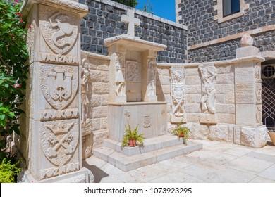 May 9, 2017. Churchyard of the St. Peter's Church, Tiberias Israel.