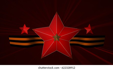 May 9 russian holiday victory. Red star and ribbon of Saint George. 3D illustration