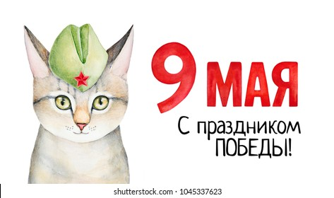 "May 9 Victory Day poster with kitten character in forage cap and holiday sign inscription in Russian (translation: ""May 9. Happy Victory Day""). Hand drawn water color on white background, isolate."