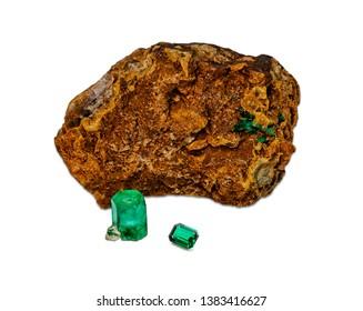 May birthstone, emerald, isolated on white background