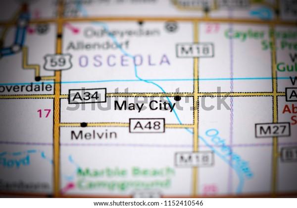 May City. Iowa. USA on a map