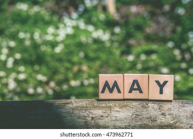 May month label in a green garden in the springtime