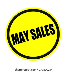 MAY SALES black stamp text on yellow