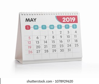 May White Office Calendar 2019 Isolated on White