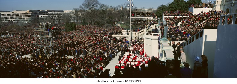 Maya Angelou delivers poem on Bill Clinton's Inauguration Day January 20, 1993 in Washington, DC