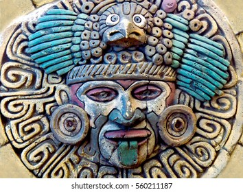 Maya Aztec style stone statue detail