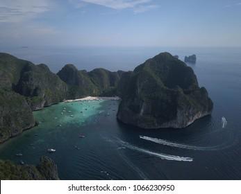 maya bay, the beach koh phi phi aerial