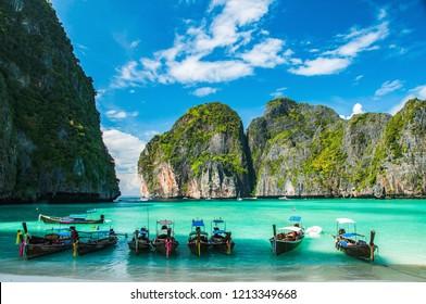 Baie Maya à Ko Phi Phi Le Island, province de Krabi en Thaïlande. Asie du Sud-Est.