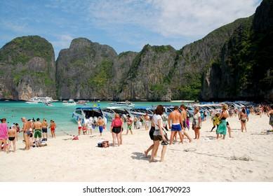 Maya Bay Krabi , Thailand - January 3 2011 : Many the tourist come to Maya bay travel and sunbath at Phi phi island of krabi province thailand, Maya beach is famous and beautiful beach for tourism.