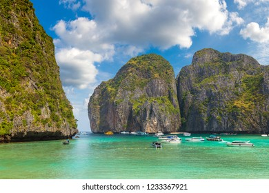 Maya bay on Koh Phi Phi Leh island, Thailand in a summer day