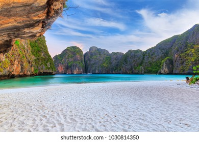Maya Bay is snorkeling point famous tour lagoon in Phi Phi Islands, Krabi , Thailand