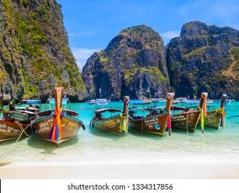 MAYA BAY, THAILAND - MARCH 27, 2016: View of the famous beach of Maya Bay.