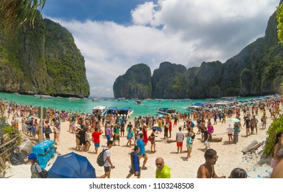 Maya Beach, Thailand, August 19th 2017: Overcrowded and polluted Maya Beach