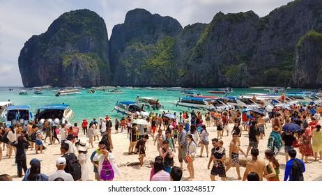 Maya Beach, Thailand, August 19th 2017: Over crowded and polluted Maya Beach