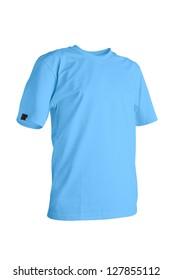 Maya blue t-shirt isolated on white background