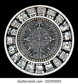 Maya calendar isolated - over black