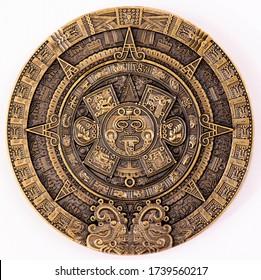 Maya Gold Plated Coin MEXICO Mayan Prophecy Ancient Calendar Souvenir Coin VINTAGE. Collection.