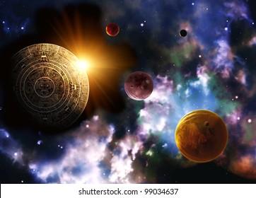 Maya prophecy. Horizontal background space scene