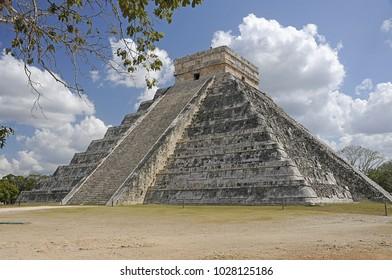 Maya pyramid. Historical ruins of ancient civilization of Maya.Chicen Itsa, Mexico.