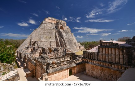 Maya settlement in Uxmal, Yucatan Mexico