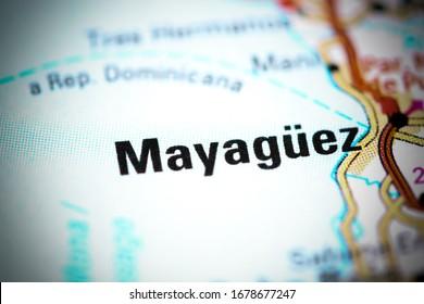 Mayaguez. Puerto Rico on a map