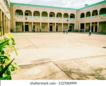 Mayaguez, Puerto Rico/USA - December 1, 2015: Courtyard of Theodore Roosevelt Elementary School With Vintage Effect